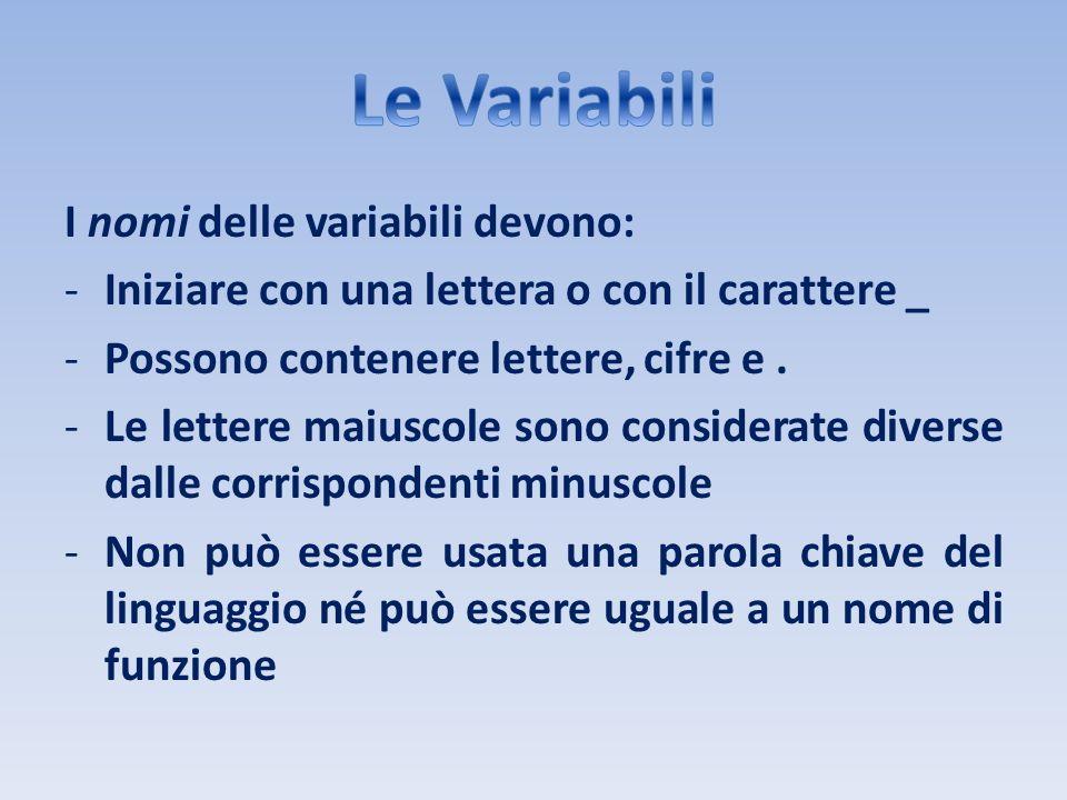 Le Variabili I nomi delle variabili devono: