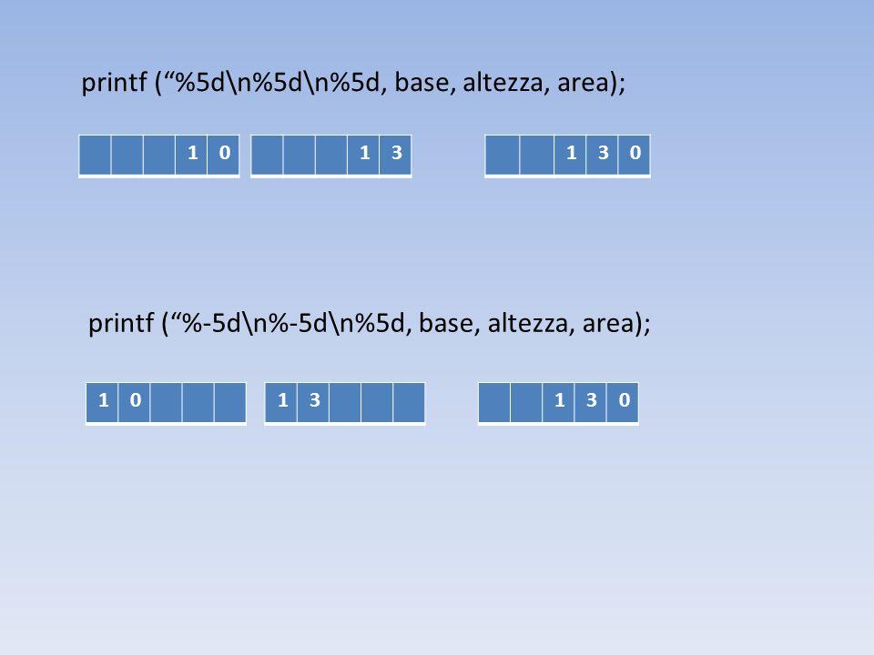 printf ( %5d\n%5d\n%5d, base, altezza, area);