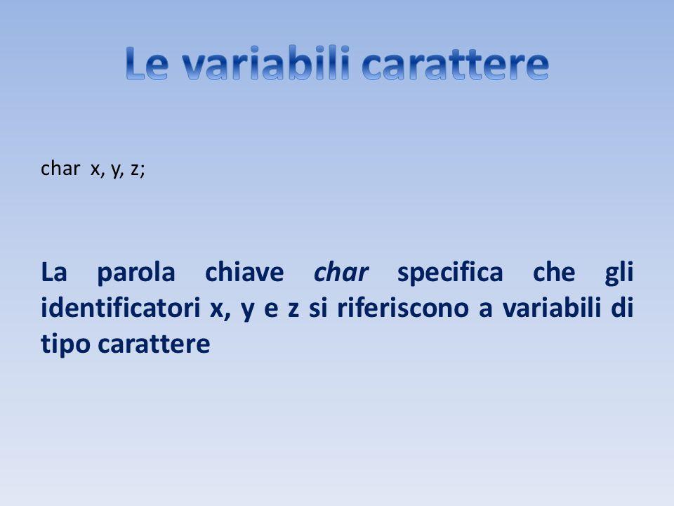 Le variabili carattere