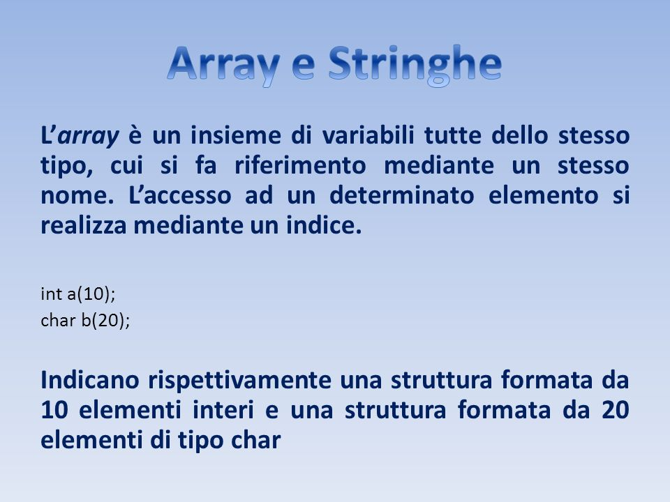Array e Stringhe