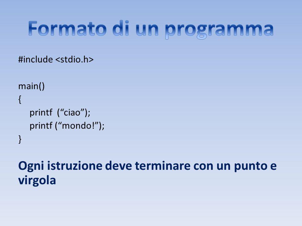 Formato di un programma