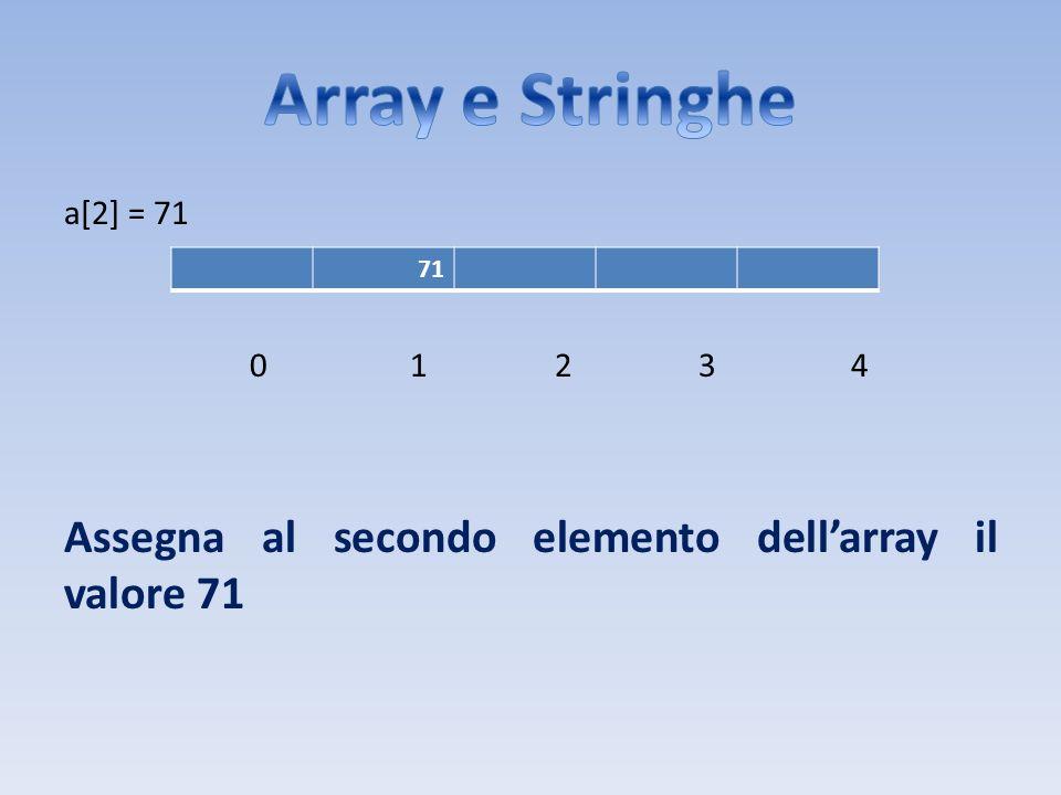 Array e Stringhe Assegna al secondo elemento dell'array il valore 71