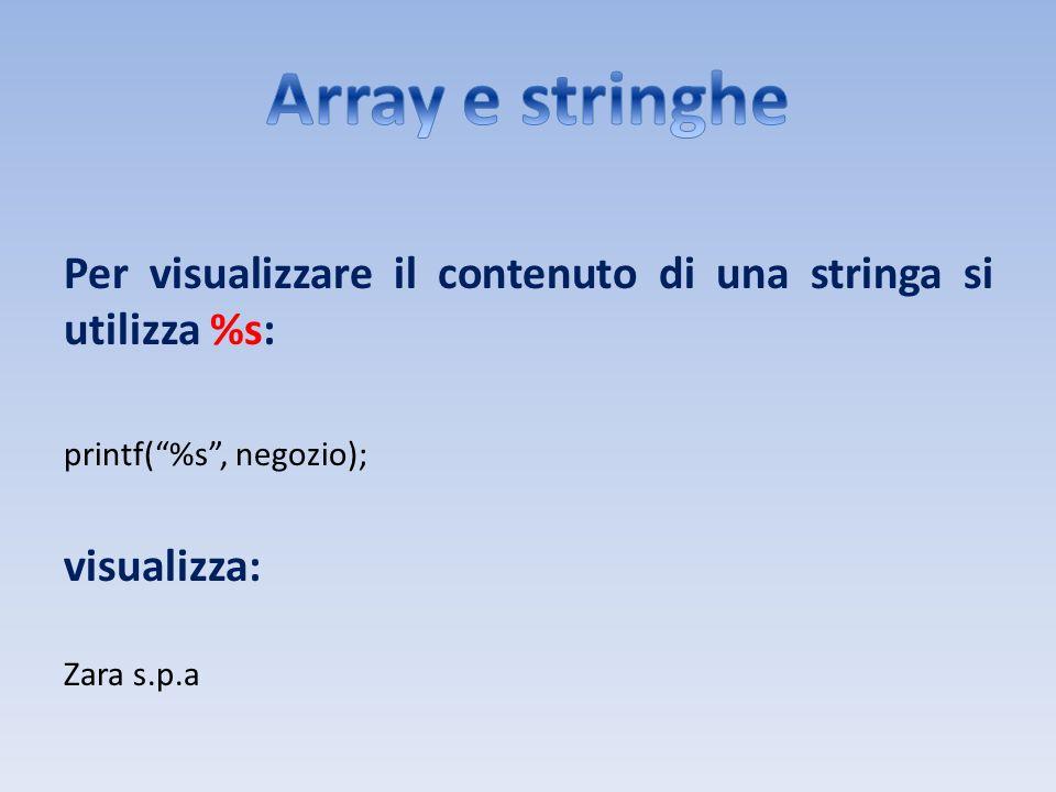 Array e stringhe Per visualizzare il contenuto di una stringa si utilizza %s: printf( %s , negozio);