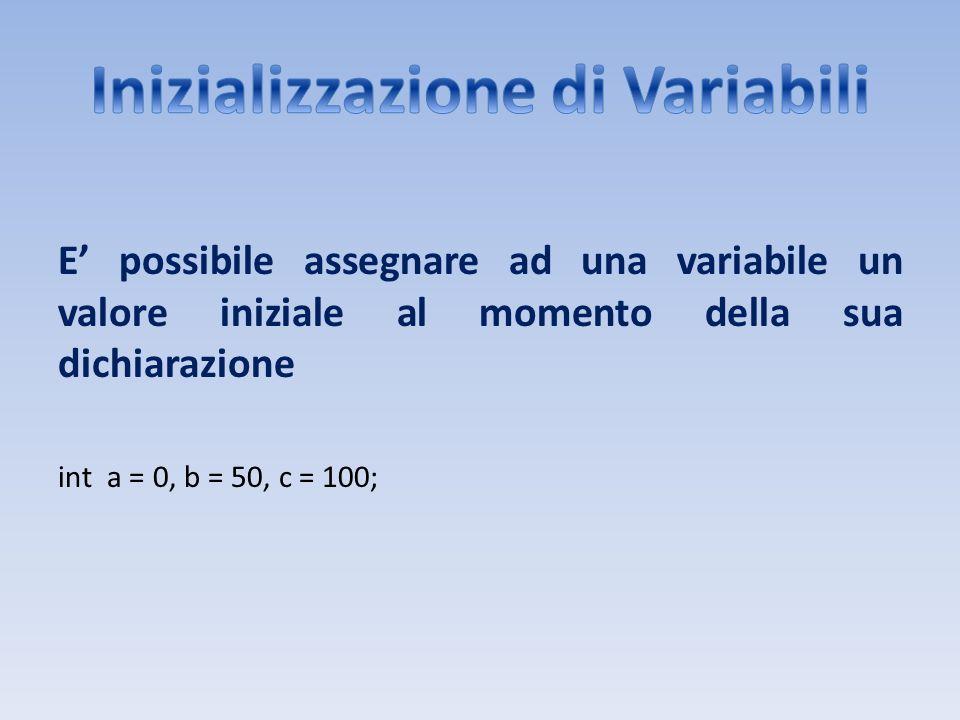 Inizializzazione di Variabili