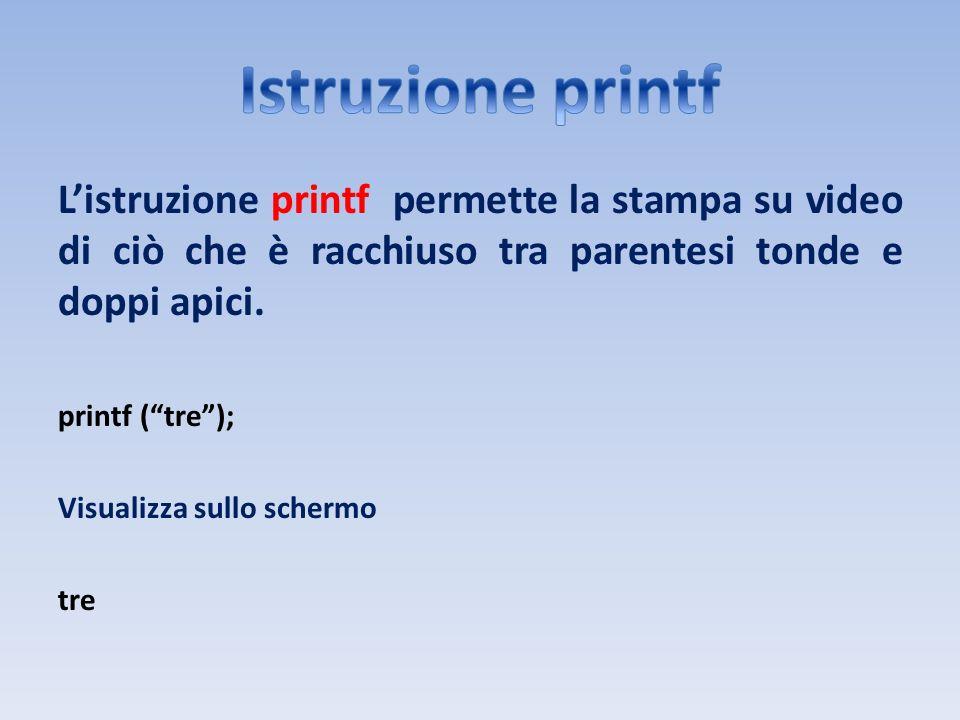 Istruzione printf L'istruzione printf permette la stampa su video di ciò che è racchiuso tra parentesi tonde e doppi apici.