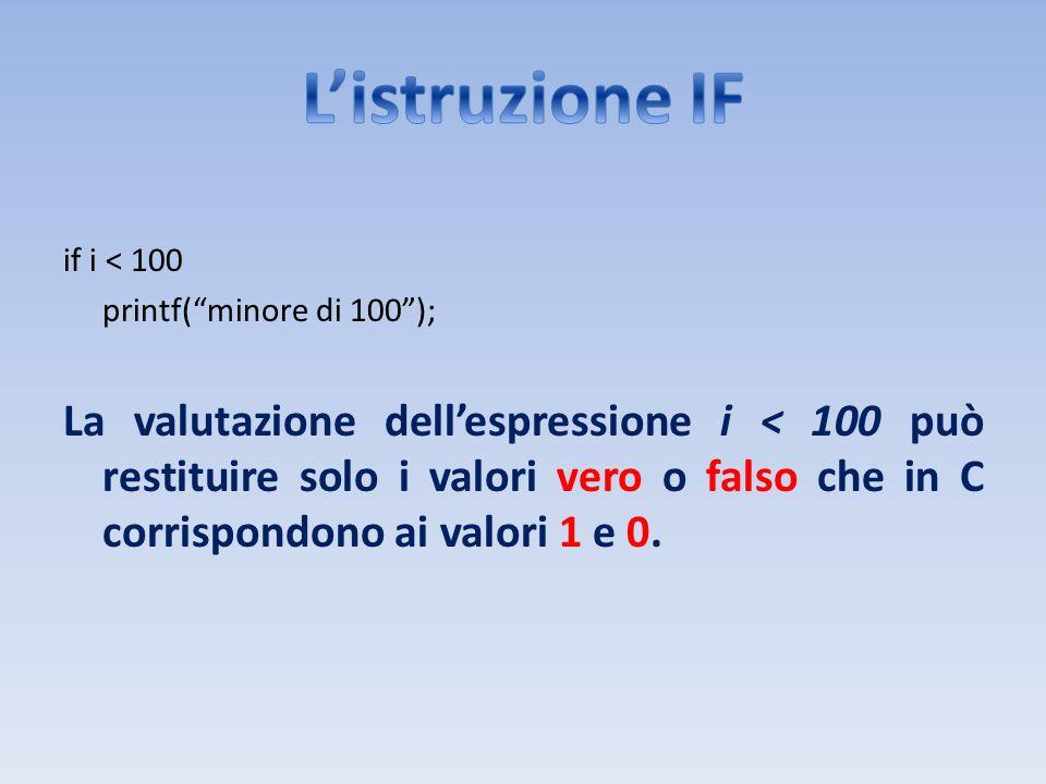 L'istruzione IF if i < 100. printf( minore di 100 );