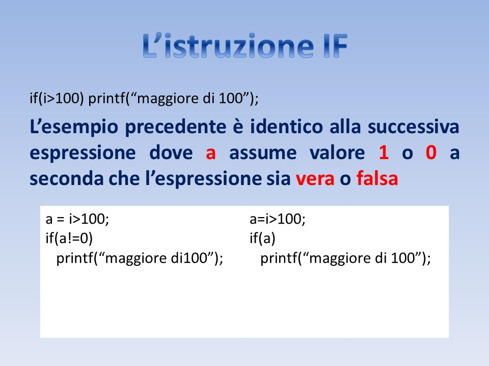 L'istruzione IF if(i>100) printf( maggiore di 100 );