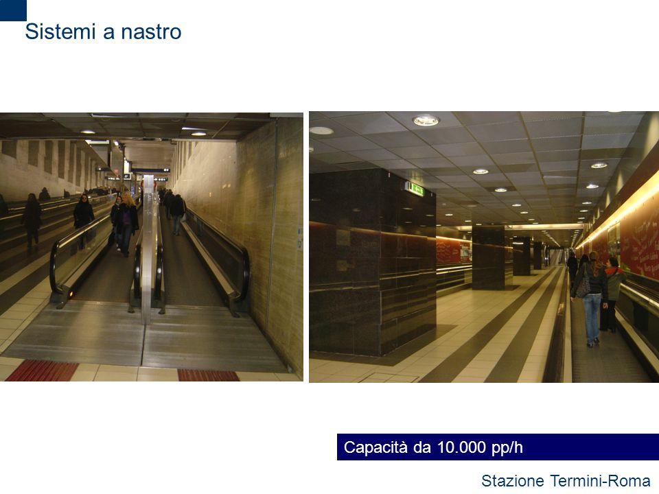 Sistemi a nastro Capacità da 10.000 pp/h Stazione Termini-Roma