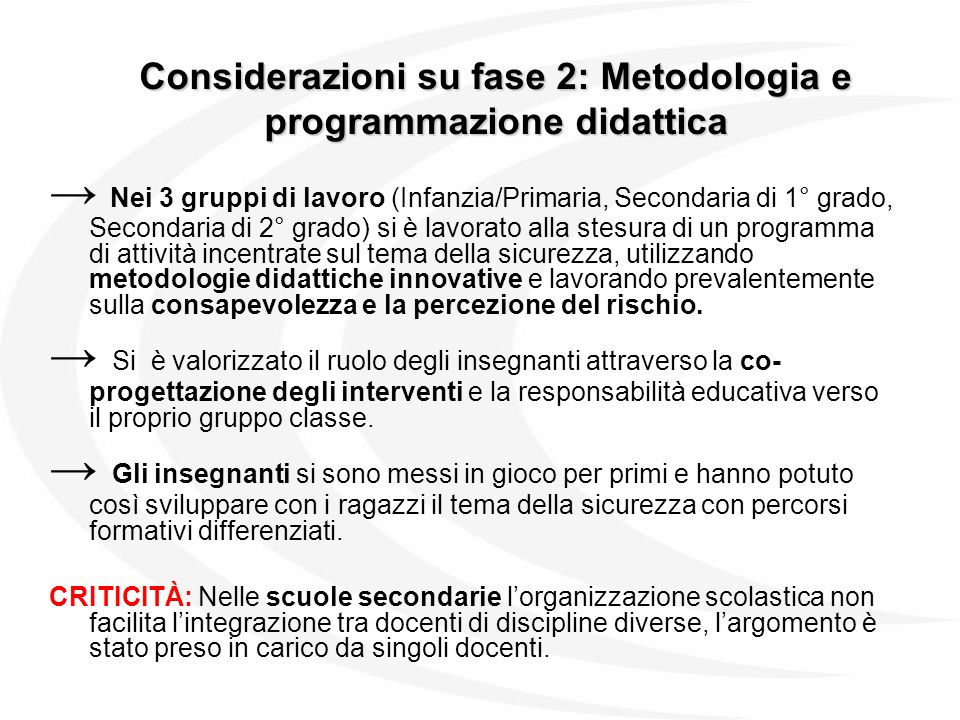 Considerazioni su fase 2: Metodologia e programmazione didattica