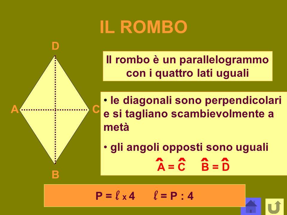 Il rombo è un parallelogrammo con i quattro lati uguali