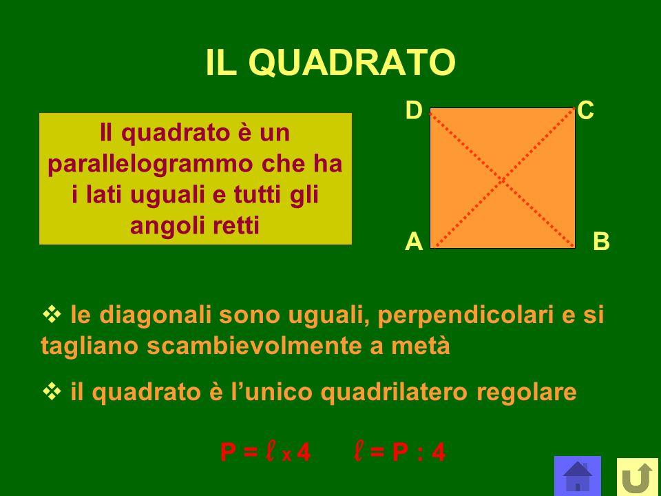 IL QUADRATOD. C. Il quadrato è un parallelogrammo che ha i lati uguali e tutti gli angoli retti. A.