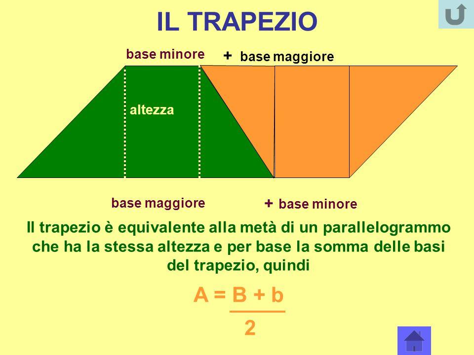 IL TRAPEZIO A = B + b 2 + base maggiore + base minore