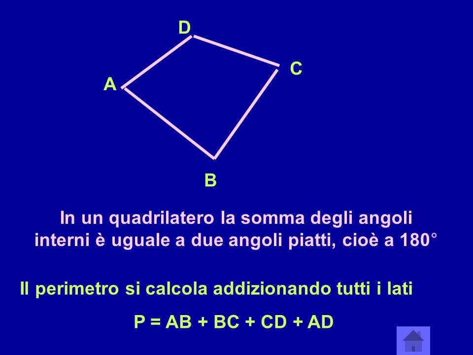 D C. A. B. In un quadrilatero la somma degli angoli interni è uguale a due angoli piatti, cioè a 180°