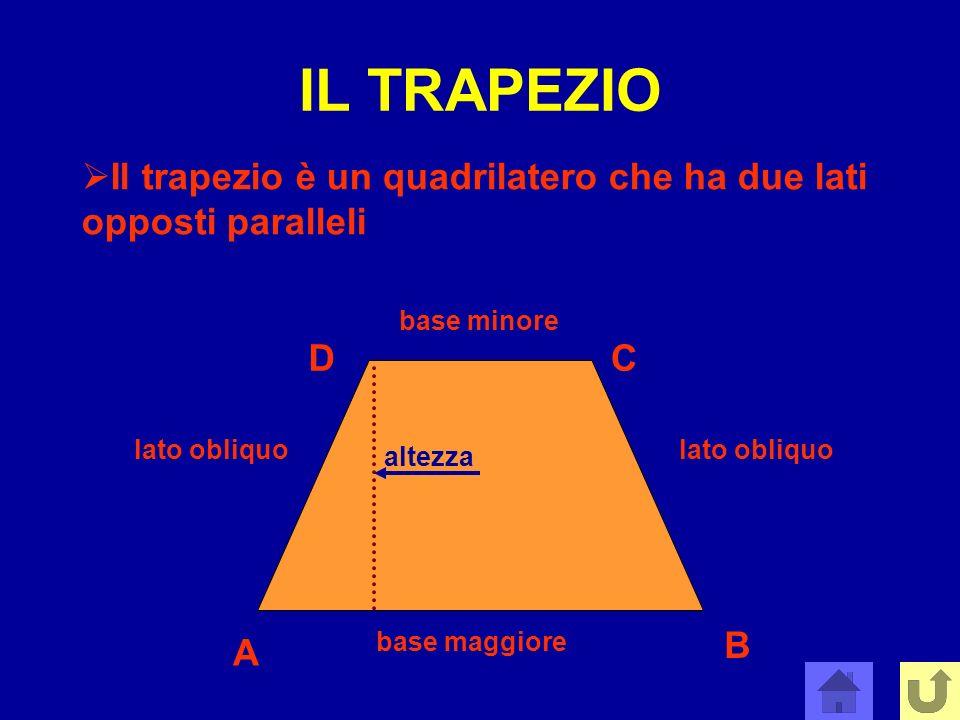 IL TRAPEZIO Il trapezio è un quadrilatero che ha due lati opposti paralleli. base minore. D. C. lato obliquo.