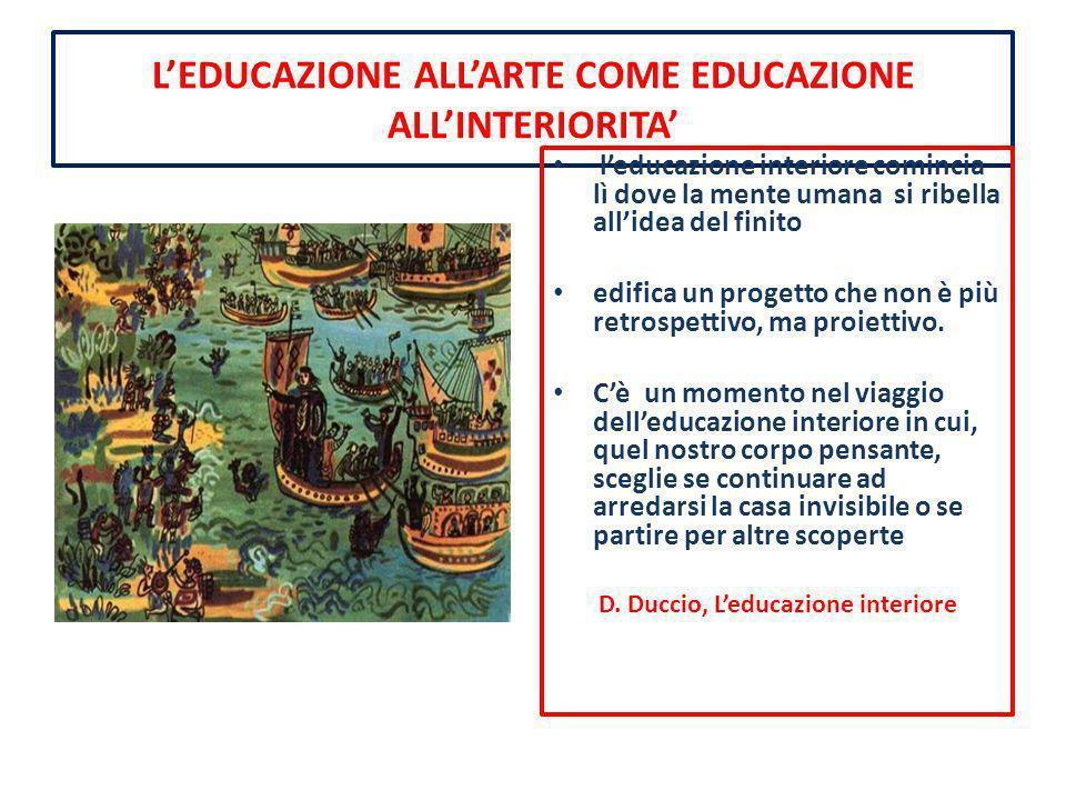L'EDUCAZIONE ALL'ARTE COME EDUCAZIONE ALL'INTERIORITA'