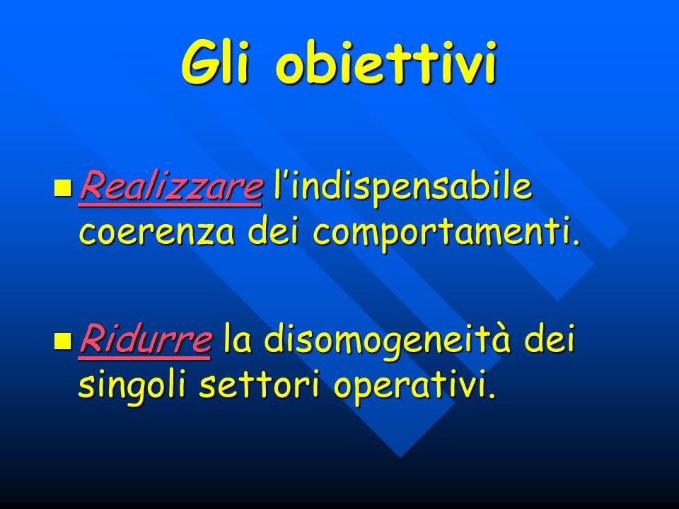 Gli obiettivi Realizzare l'indispensabile coerenza dei comportamenti.