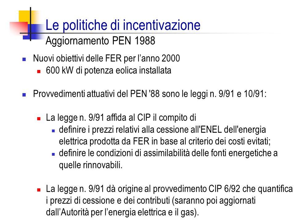 Le politiche di incentivazione Aggiornamento PEN 1988
