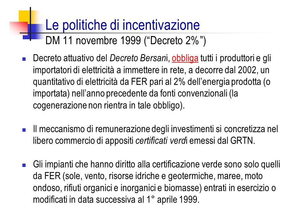 Le politiche di incentivazione DM 11 novembre 1999 ( Decreto 2% )