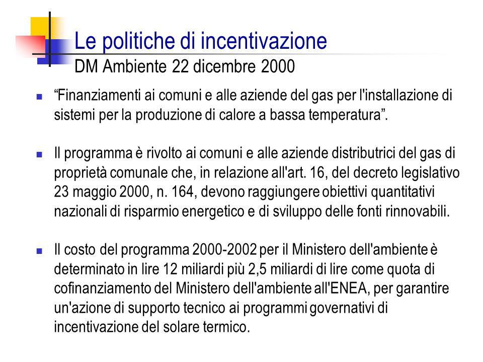 Le politiche di incentivazione DM Ambiente 22 dicembre 2000