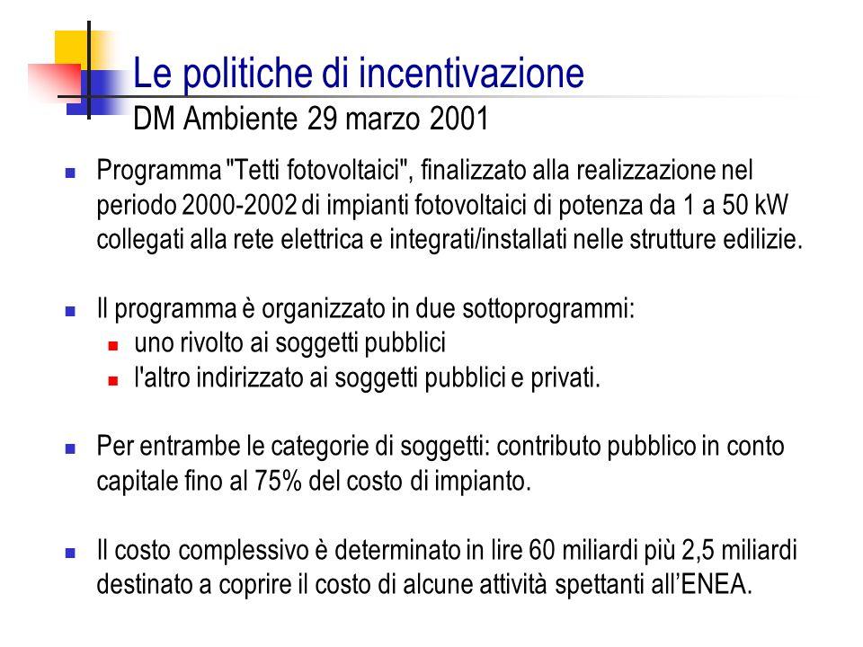 Le politiche di incentivazione DM Ambiente 29 marzo 2001