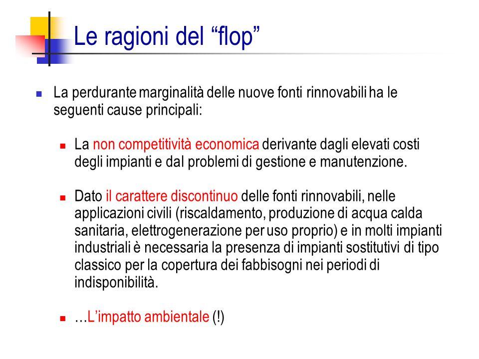 Le ragioni del flop La perdurante marginalità delle nuove fonti rinnovabili ha le seguenti cause principali: