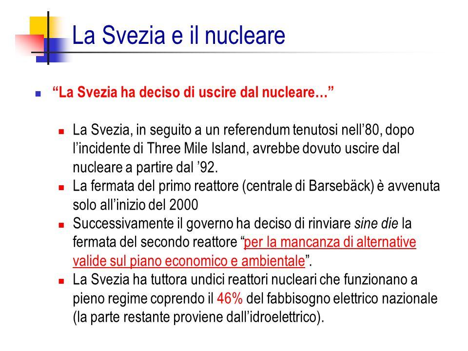 La Svezia e il nucleare La Svezia ha deciso di uscire dal nucleare…
