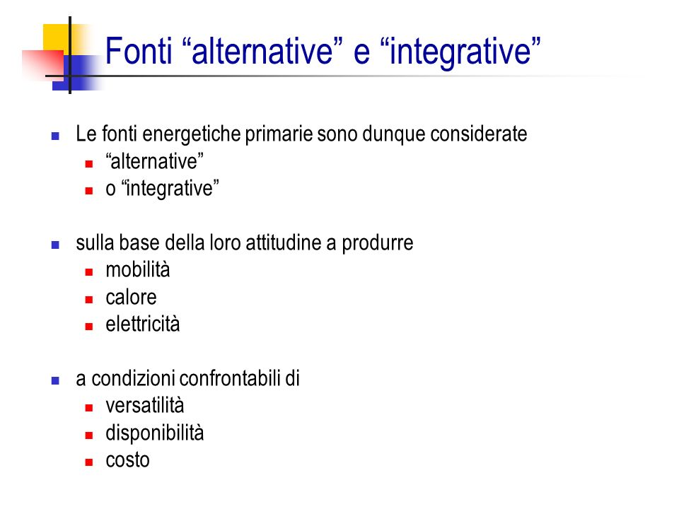 Fonti alternative e integrative