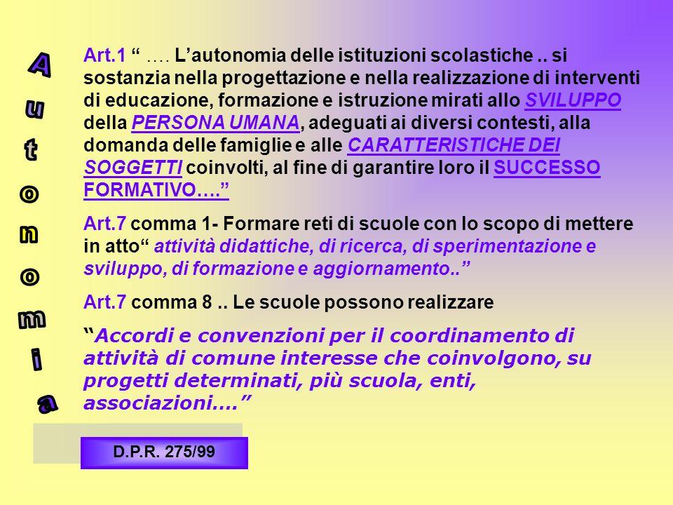 Art. 1 …. L'autonomia delle istituzioni scolastiche