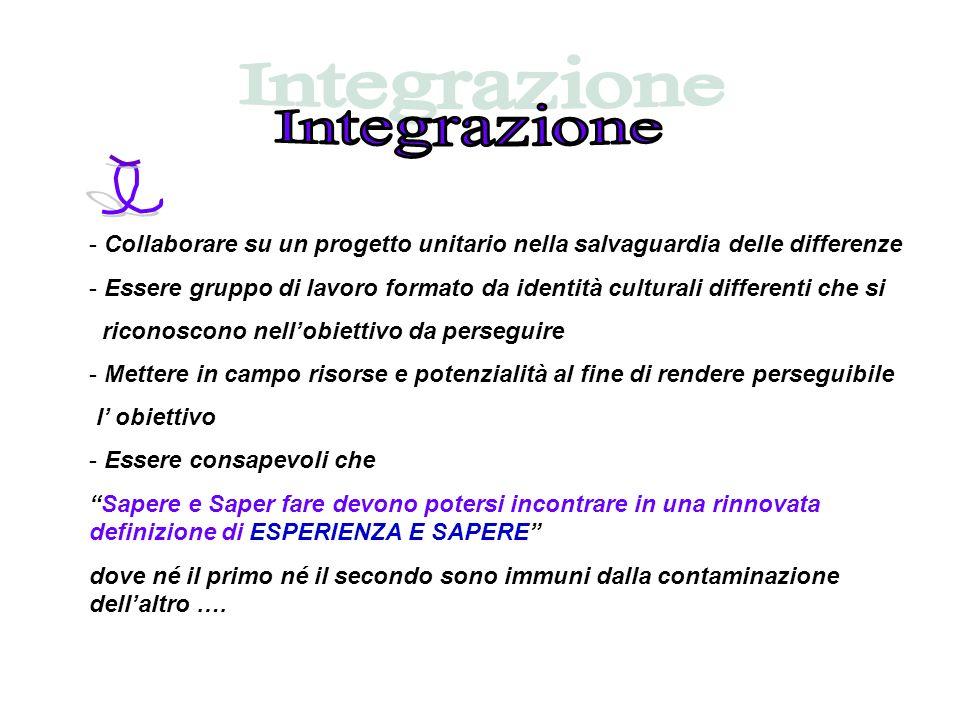 IntegrazioneCollaborare su un progetto unitario nella salvaguardia delle differenze.