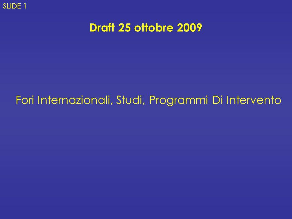 Fori Internazionali, Studi, Programmi Di Intervento