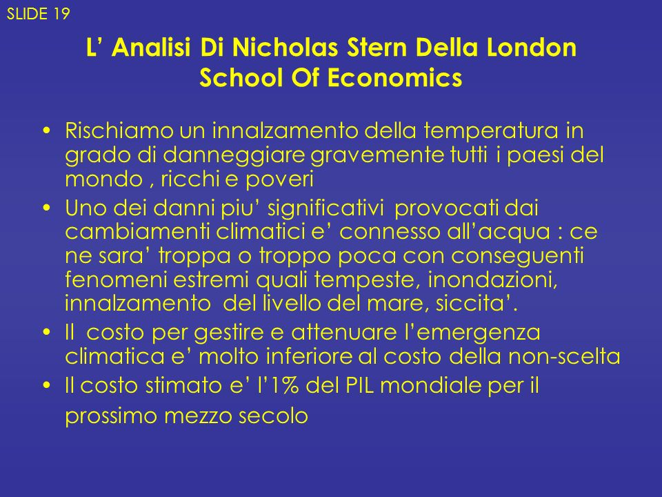 L' Analisi Di Nicholas Stern Della London School Of Economics