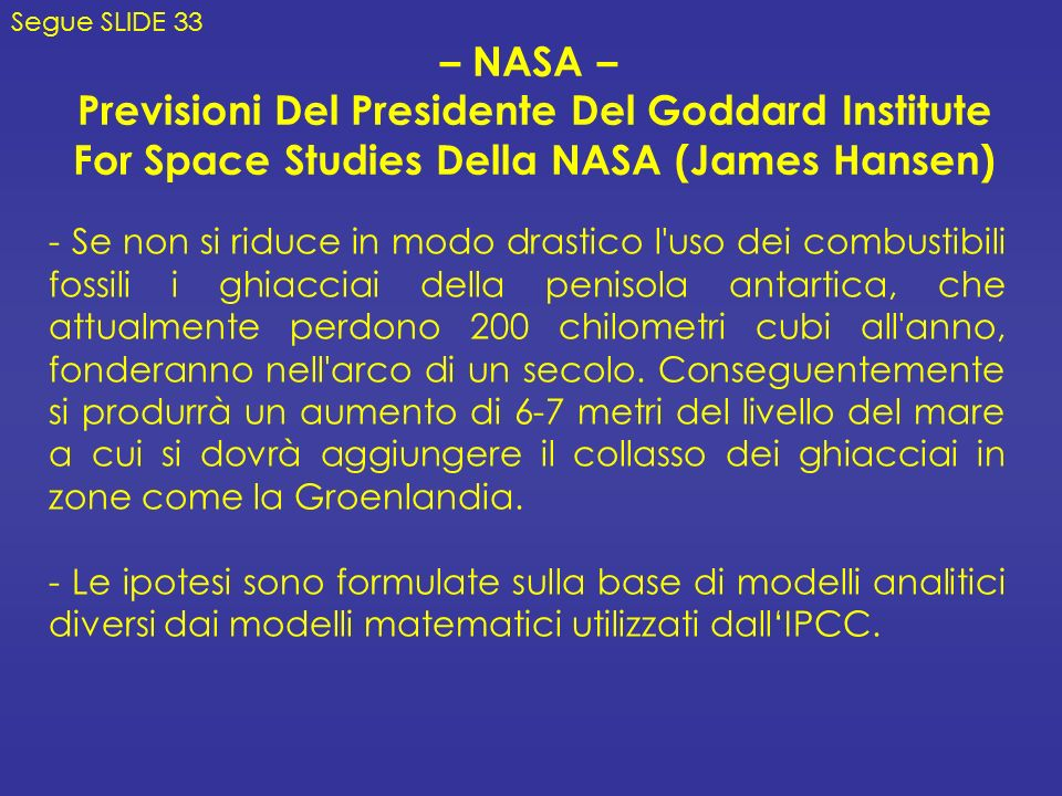 Previsioni Del Presidente Del Goddard Institute