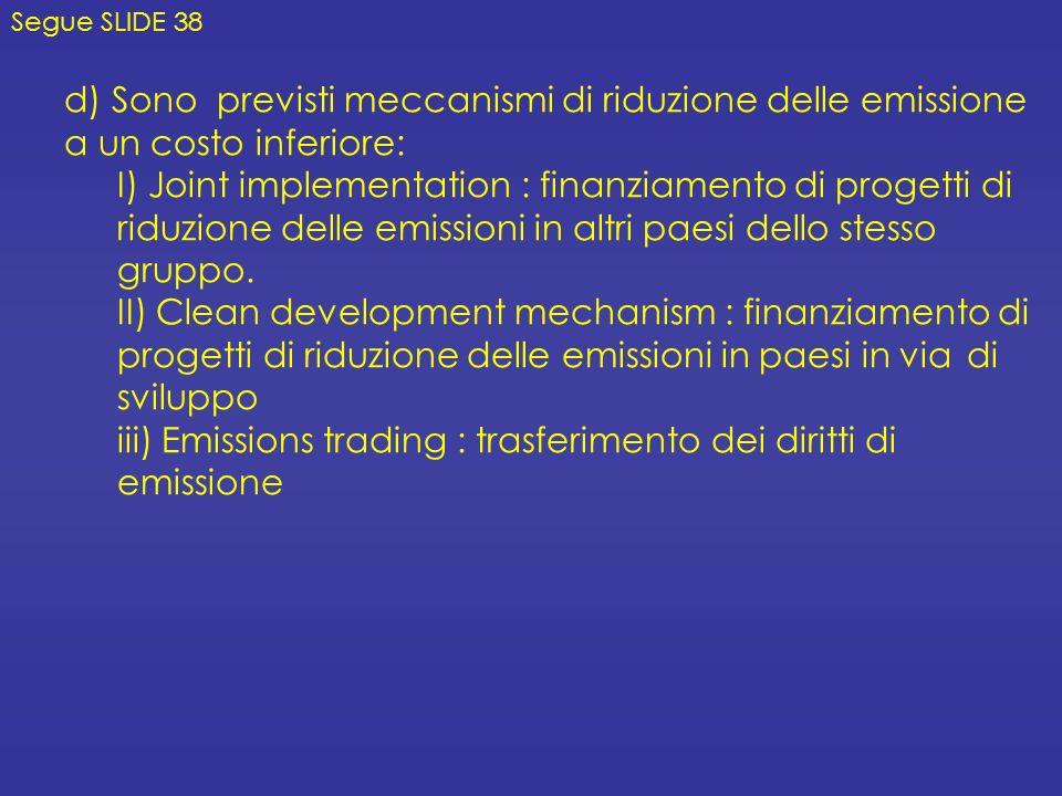 iii) Emissions trading : trasferimento dei diritti di emissione