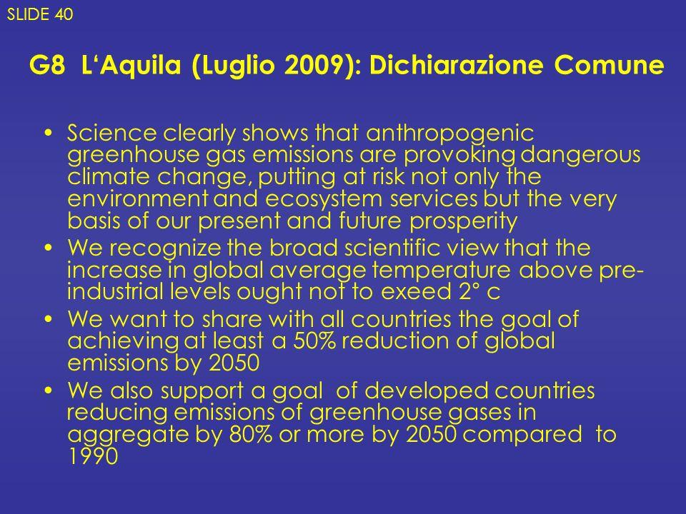 G8 L'Aquila (Luglio 2009): Dichiarazione Comune