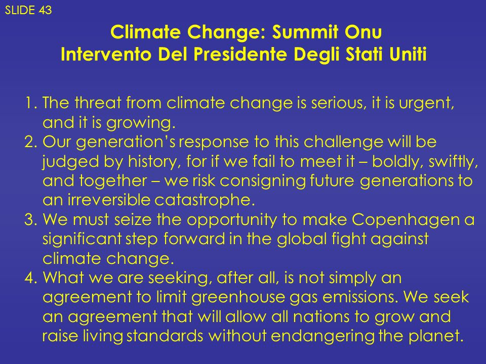 Climate Change: Summit Onu
