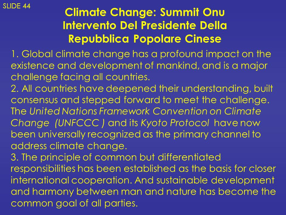 Climate Change: Summit Onu Intervento Del Presidente Della