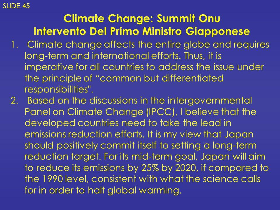 Climate Change: Summit Onu Intervento Del Primo Ministro Giapponese