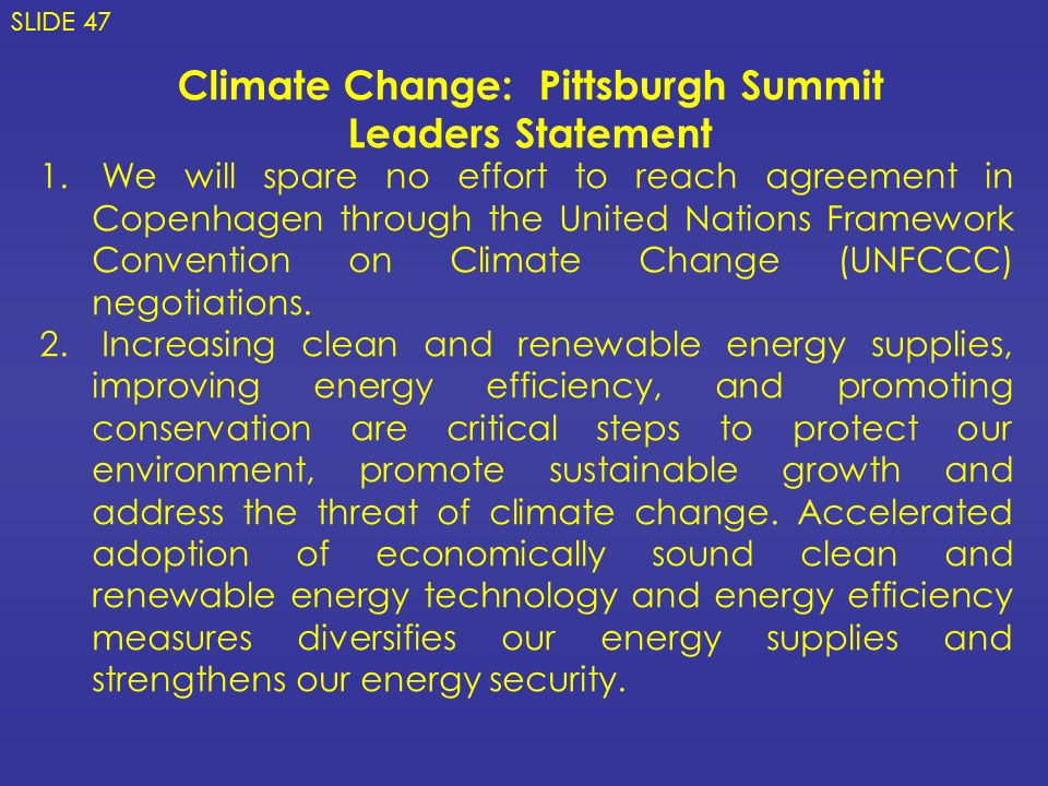 Climate Change: Pittsburgh Summit