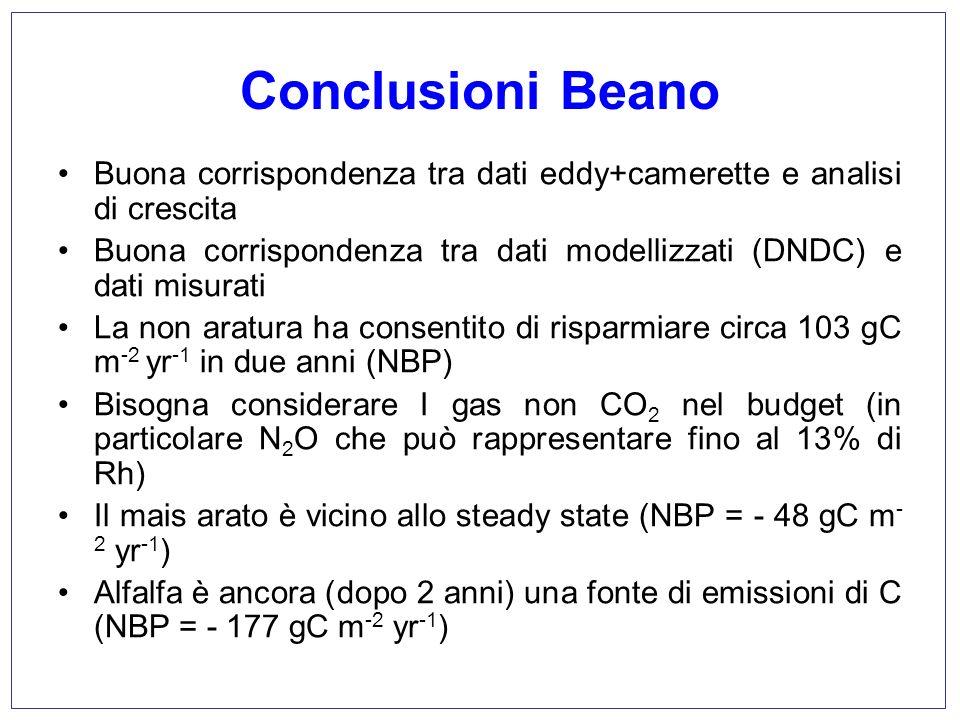 Conclusioni Beano Buona corrispondenza tra dati eddy+camerette e analisi di crescita.