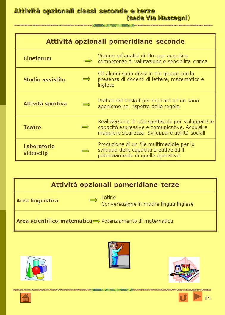 Attività opzionali classi seconde e terze (sede Via Mascagni)