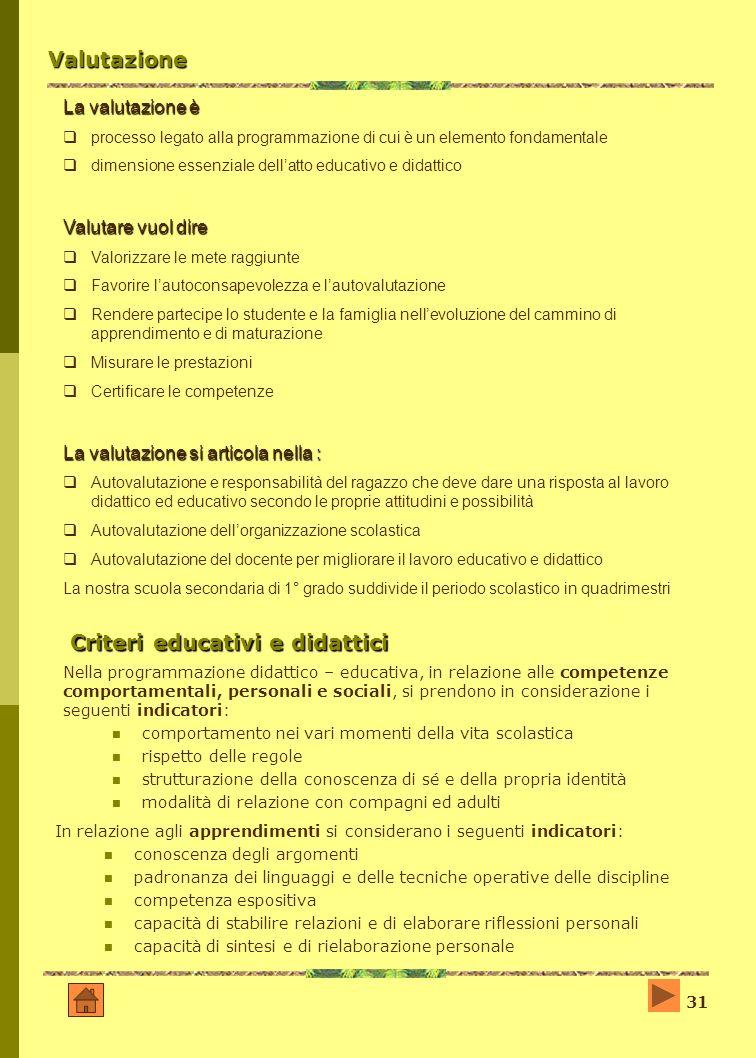 Criteri educativi e didattici