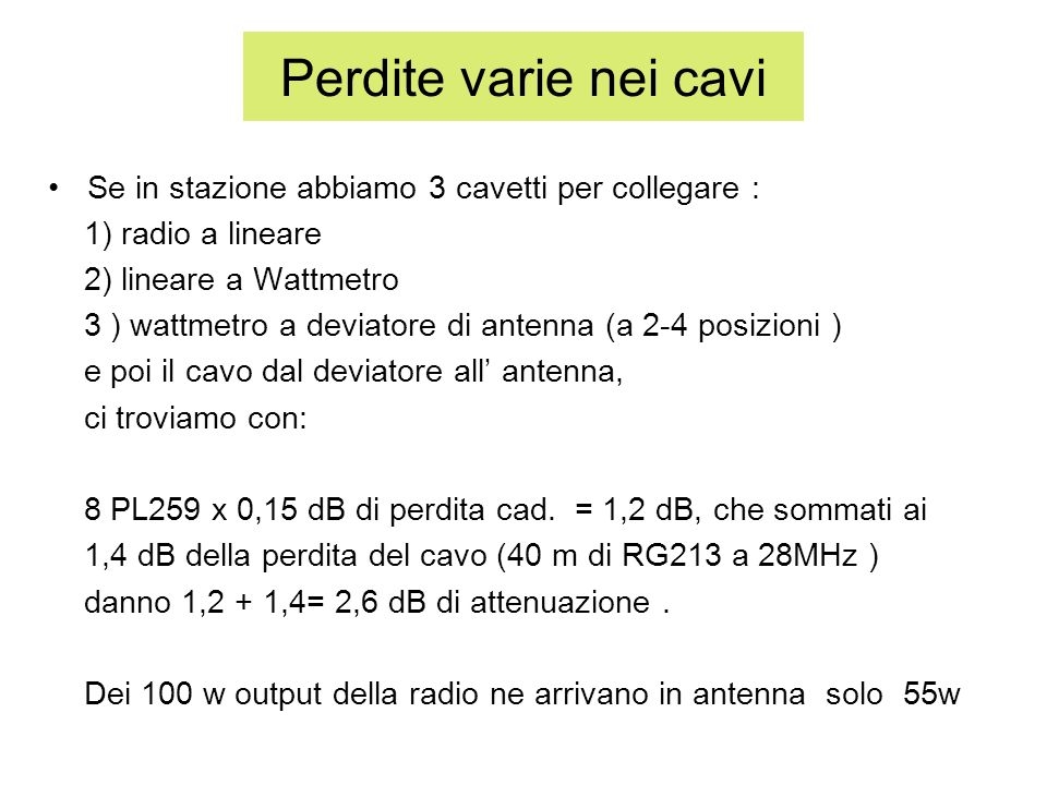 Perdite varie nei cavi Se in stazione abbiamo 3 cavetti per collegare : 1) radio a lineare. 2) lineare a Wattmetro.
