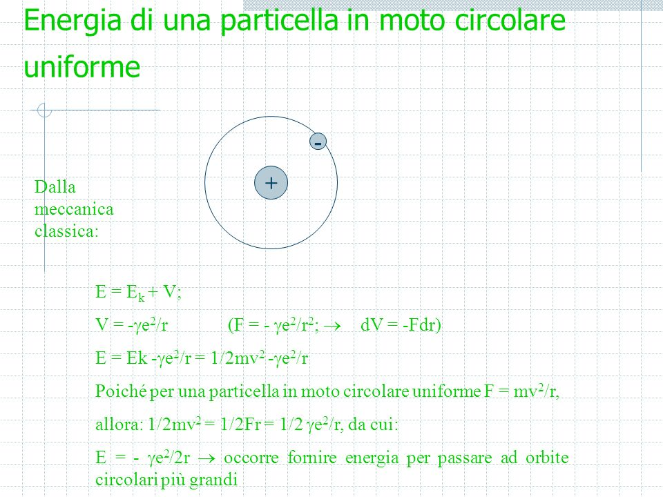 Energia di una particella in moto circolare uniforme