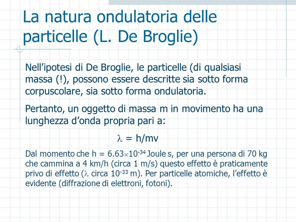 La natura ondulatoria delle particelle (L. De Broglie)