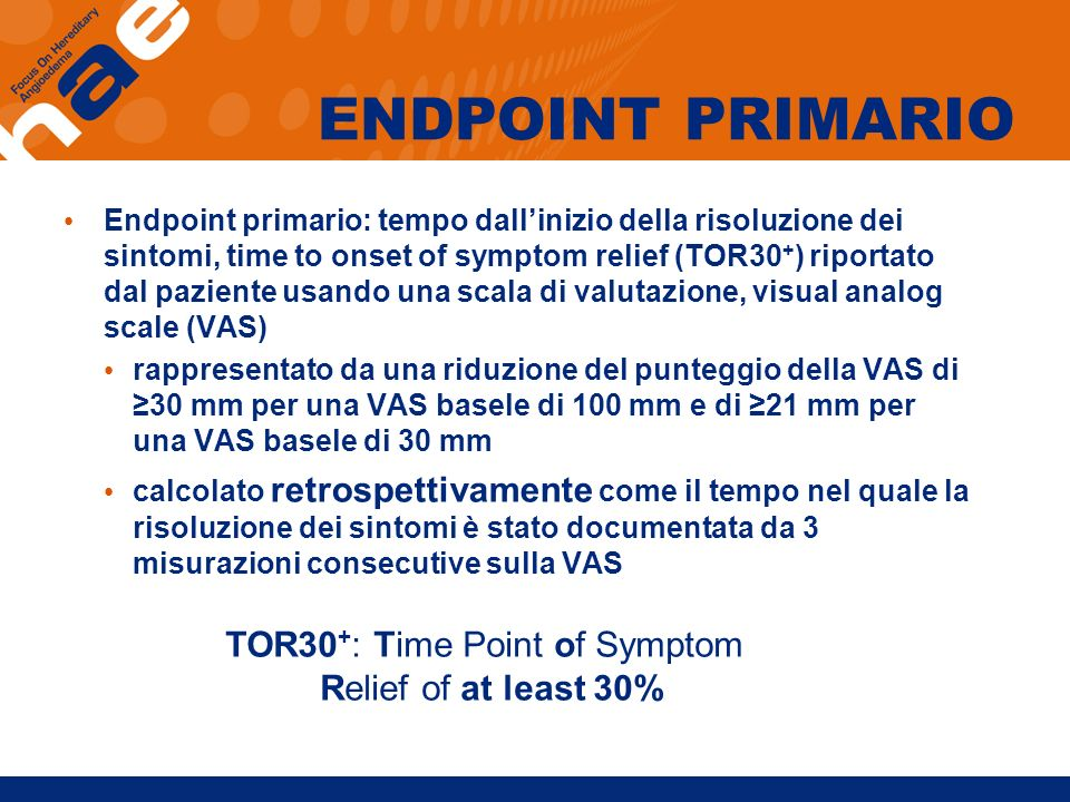 TOR30+: Time Point of Symptom Relief of at least 30%