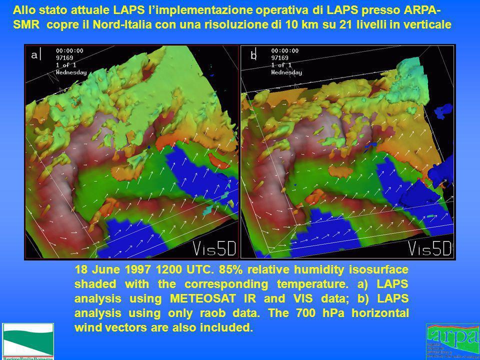 Allo stato attuale LAPS l'implementazione operativa di LAPS presso ARPA- SMR copre il Nord-Italia con una risoluzione di 10 km su 21 livelli in verticale