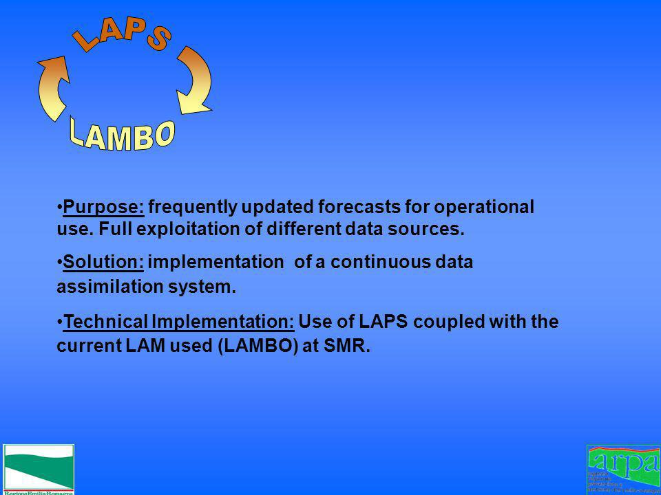 LAPSLAMBO. Purpose: frequently updated forecasts for operational use. Full exploitation of different data sources.