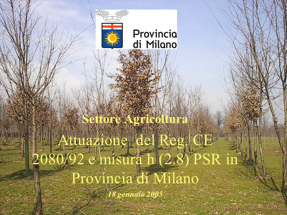 Settore AgricolturaAttuazione del Reg.CE 2080/92 e misura h (2.8) PSR in Provincia di Milano.