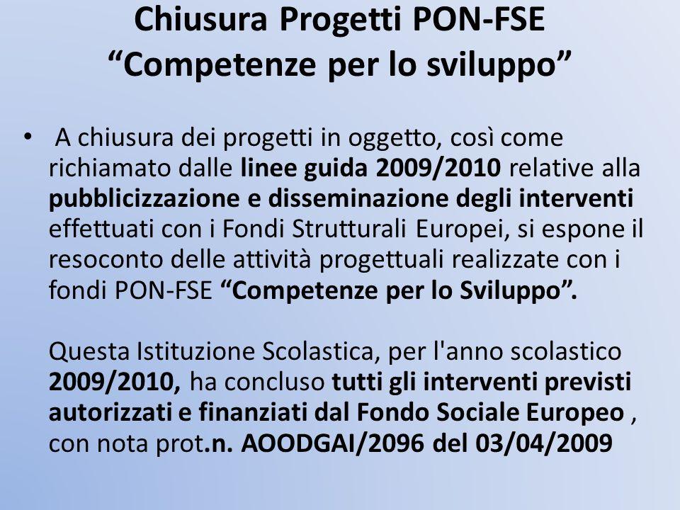 Chiusura Progetti PON-FSE Competenze per lo sviluppo