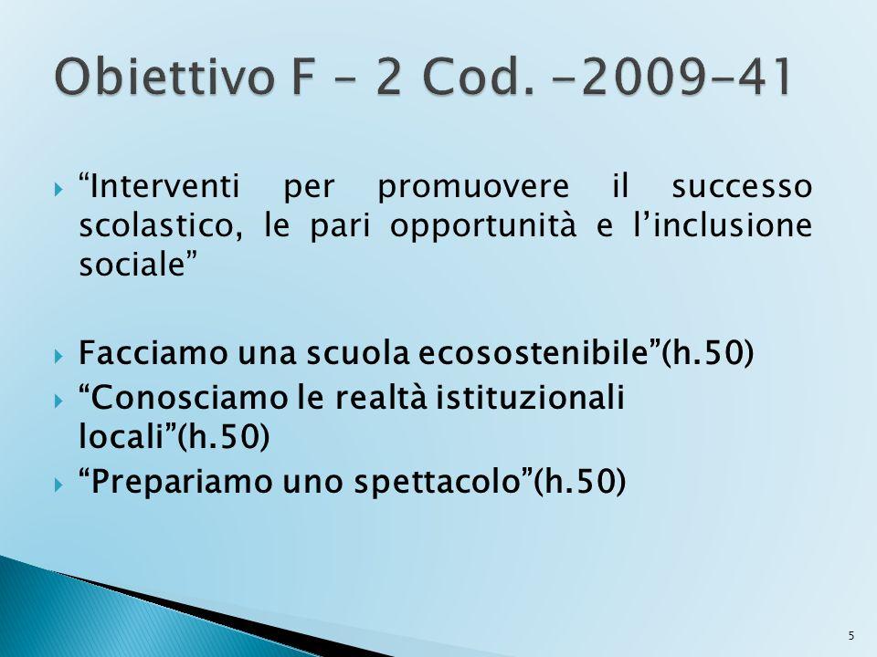 Obiettivo F – 2 Cod. -2009-41 Interventi per promuovere il successo scolastico, le pari opportunità e l'inclusione sociale